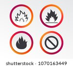 fire flame icons. prohibition... | Shutterstock .eps vector #1070163449