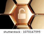 golden unlock icon in the... | Shutterstock . vector #1070167595