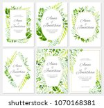 wedding invitation with green... | Shutterstock .eps vector #1070168381