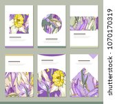 set with six floral romantic...   Shutterstock .eps vector #1070170319