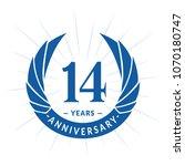 14 years anniversary. elegant... | Shutterstock .eps vector #1070180747