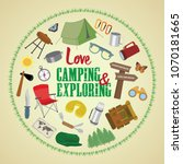 colorful camping elements... | Shutterstock .eps vector #1070181665