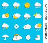 abstract paper weather icons | Shutterstock . vector #1070189699