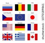 set   table stand with flags.... | Shutterstock . vector #1070189861