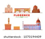 florence   italy   famous... | Shutterstock .eps vector #1070194409