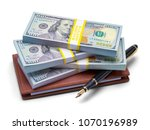 Small photo of Leather Checkbook with Money Stack and Pen Isolated on White Background.