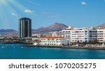 beautiful city beach view on a... | Shutterstock . vector #1070205275