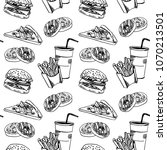 seamless pattern with fastfood. ... | Shutterstock .eps vector #1070213501