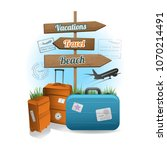 travel wood sign background... | Shutterstock .eps vector #1070214491