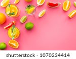tropical fruit cocktail with... | Shutterstock . vector #1070234414