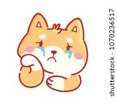 shiba inu  sad  crying  weeping ... | Shutterstock .eps vector #1070236517