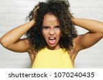 portrait of worried woman.... | Shutterstock . vector #1070240435