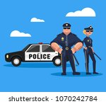 two policeman man and woman... | Shutterstock .eps vector #1070242784
