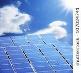 solar panel with shining sun | Shutterstock . vector #107024741