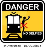 danger  no selfies sticker | Shutterstock .eps vector #1070265815
