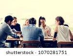 group of friends meeting... | Shutterstock . vector #1070281751