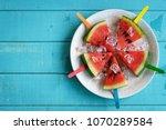 Watermelon Slice Popsicles Wit...