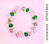 top view of pink roses and... | Shutterstock . vector #1070293001