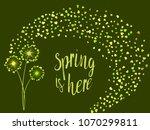 green vector dandelion herbs ...   Shutterstock .eps vector #1070299811