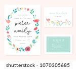 wedding invitation card with... | Shutterstock .eps vector #1070305685