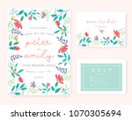 wedding invitation card with... | Shutterstock .eps vector #1070305694
