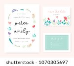 wedding invitation card with... | Shutterstock .eps vector #1070305697