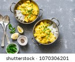 salmon curry and rice in curry... | Shutterstock . vector #1070306201