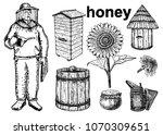 a collection of vector sketches ... | Shutterstock .eps vector #1070309651