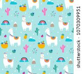 Stock vector llama alpaca cactuses and leaves seamless pattern background 1070309951