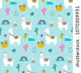 llama  alpaca  cactuses and... | Shutterstock .eps vector #1070309951
