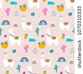 llama  alpaca  cactuses and... | Shutterstock .eps vector #1070310335