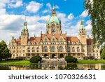 Stock photo new city hall in hannover in a beautiful summer day germany 1070326631