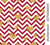 gold heart seamless pattern.... | Shutterstock .eps vector #1070336645