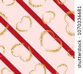 gold heart seamless pattern.... | Shutterstock .eps vector #1070336681