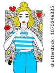beatiful girl with fashion... | Shutterstock .eps vector #1070346335