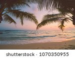 beautiful paradise island with... | Shutterstock . vector #1070350955