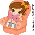 Illustration Featuring a Girl Reading Her Diary - stock vector