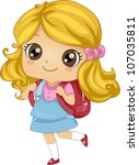 Illustration Featuring a Girl Carrying a Backpack - stock vector
