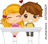 Illustration Featuring a Boy and a Girl Holding Hands - stock vector