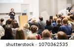female speaker giving... | Shutterstock . vector #1070362535