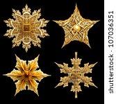 Four 3d Gold Star Motifs...