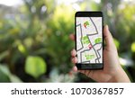 gps map to route destination... | Shutterstock . vector #1070367857