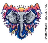 illustration of an elephant in... | Shutterstock .eps vector #1070373737