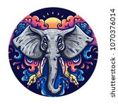 illustration of an elephant in... | Shutterstock .eps vector #1070376014
