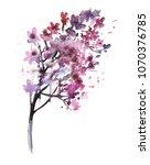 lilac flower. watercolor...   Shutterstock . vector #1070376785