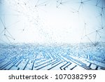 abstract white circuit... | Shutterstock . vector #1070382959