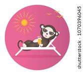 monkey in sun glasses glows... | Shutterstock .eps vector #1070396045