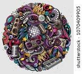 cartoon vector doodles disco... | Shutterstock .eps vector #1070409905