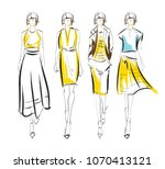 fashion illustration. stylish... | Shutterstock .eps vector #1070413121