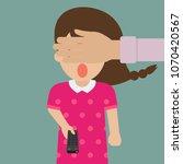 mom covering her daughter eyes... | Shutterstock .eps vector #1070420567